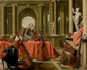 Retrato de un músico de la Corte con instrumentos de cuerda